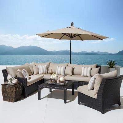 Deco 6-Piece All-Weather Wicker Patio Sectional Set with 10 ft. Umbrella and Slate Grey Cushions