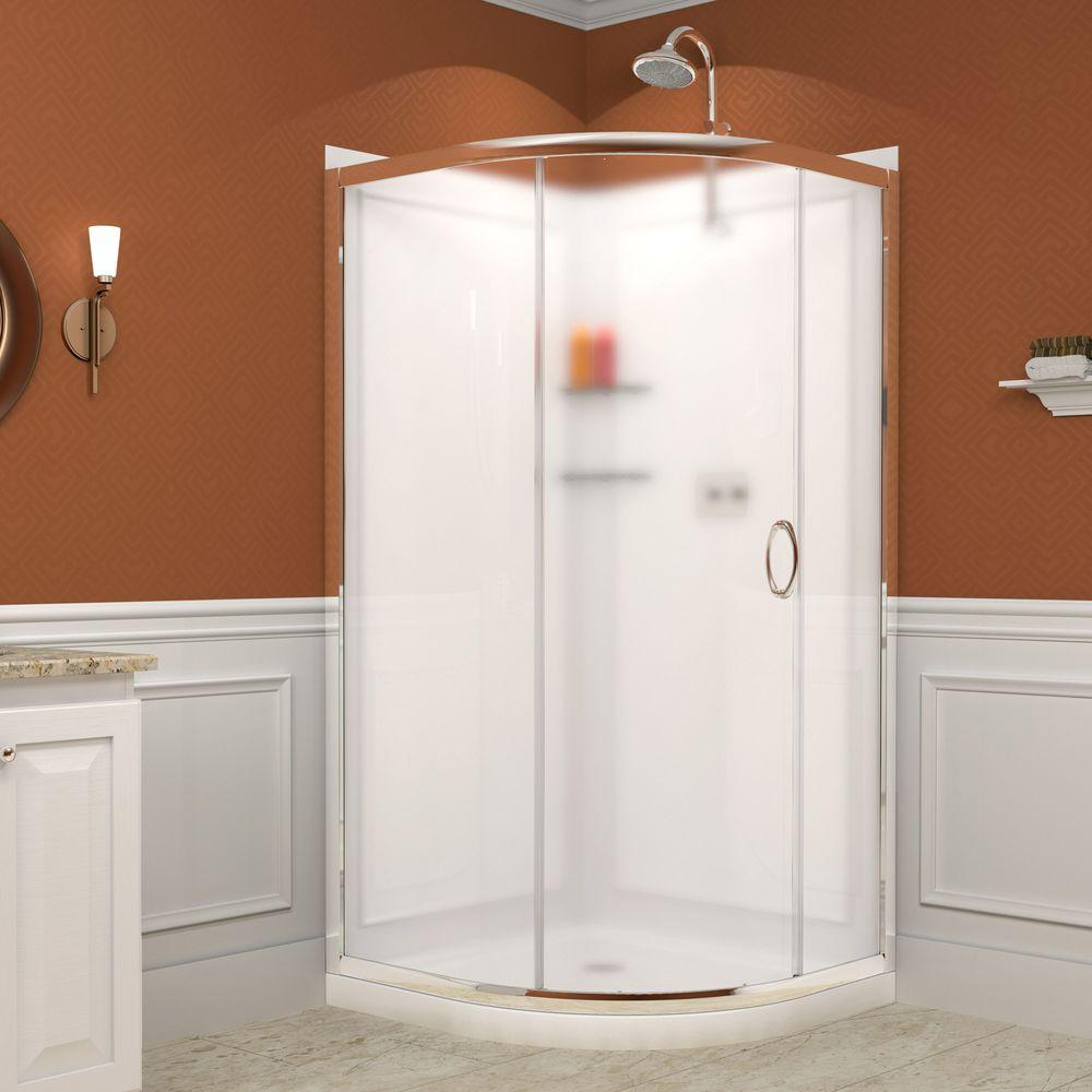 DreamLine Solo 34-3/8 in. x 34-3/8 in. x 72 in. Framed Sliding Shower Enclosure in Chrome with Shower Base and Backwalls