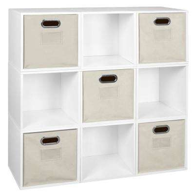 Cubo 39 in. H x 39 in. W White Wood Grain/Natural 9-Cube and 5-Bin Organizer