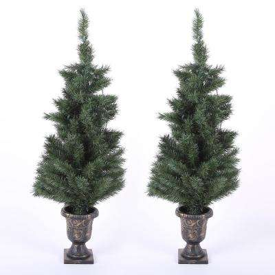 4 ft. Pre-Lit Porch Christmas Trees with LED Lights (Set of 2)