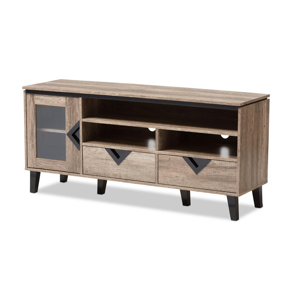baxton studio cardiff light brown wood tv stand - Light Colored Tv Stands
