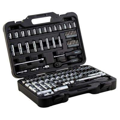 Socket Sets 1/4 in. and 3/8 in. Drive with Ergonomic Ratchet and Extension Bars Heavy-Duty Blow Molded Case (95-Piece)