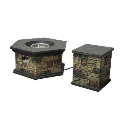 Chesney 37 in. x 17 in. Octagonal Lightweight Concrete Fire Pit in Mixed Brown