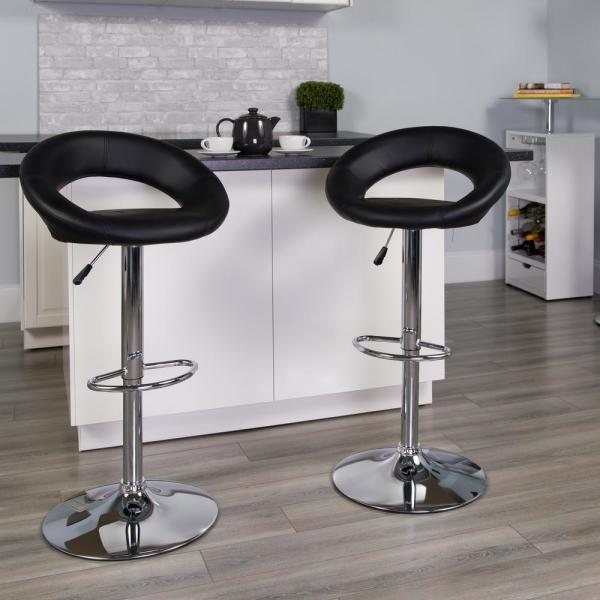 Flash Furniture 32.75 in. Adjustable Height Black Cushioned Bar Stool DS811BK