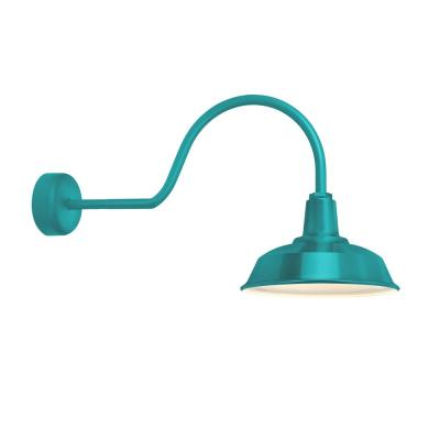 Heavy-Duty 14 in. Shade 30 in. Arm 1-Light Tahitian Teal Gloss White Lens Outdoor Wall Mount Sconce