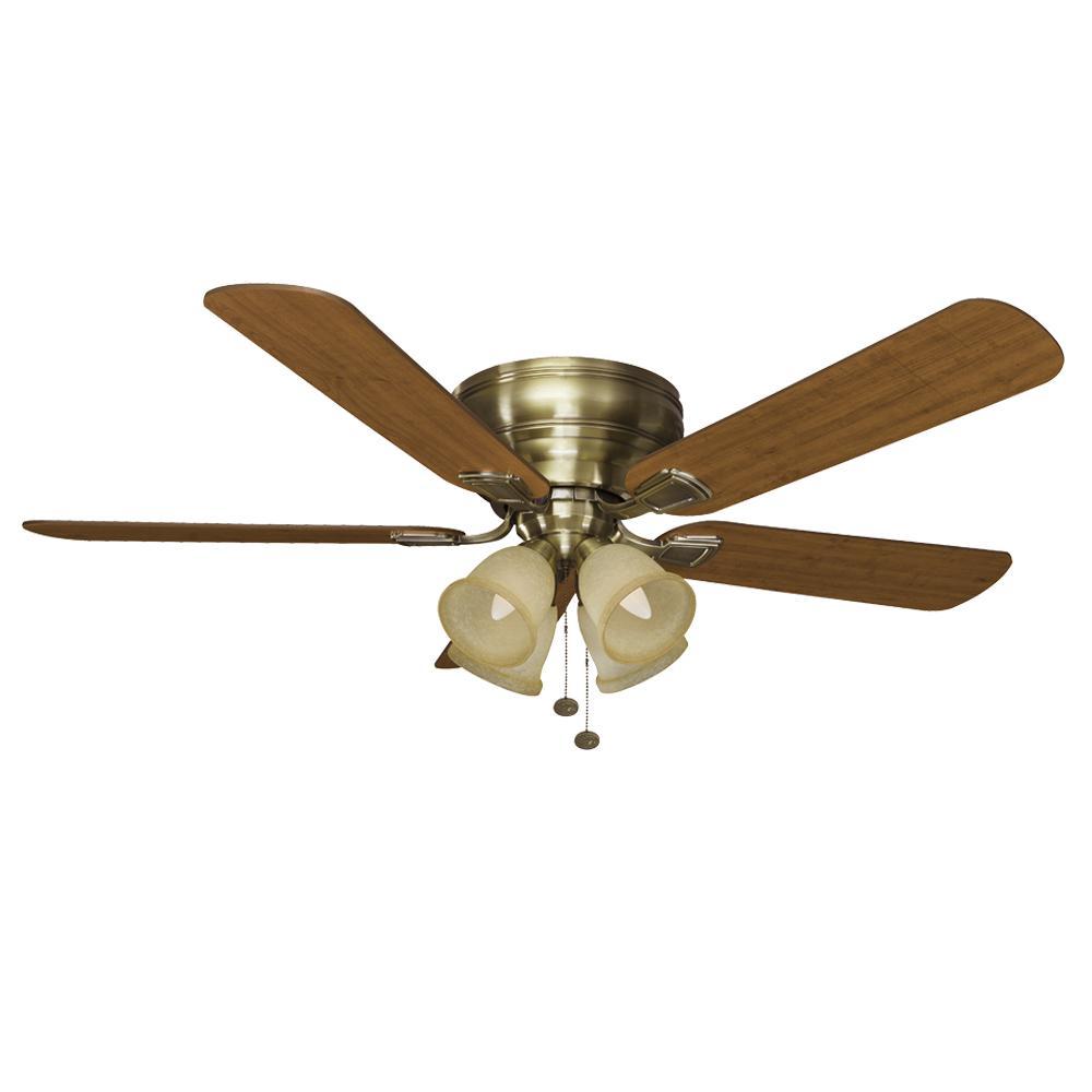 Fairfield 52 in. LED Antique Brass Ceiling Fan