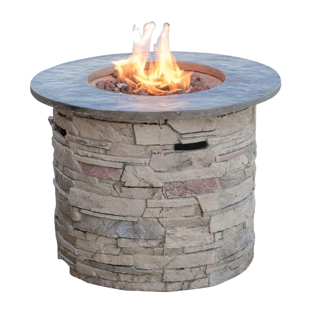 Noble House Ophelia 32 in. x 24 in. Circular MGO Propane Fire Pit in Natural Stone with Grey Top