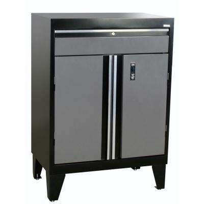 30 in. W x 18 in. D x 43 in. H Modular Steel Base Cabinet with Drawer, Full Pull in Black/Charcoal