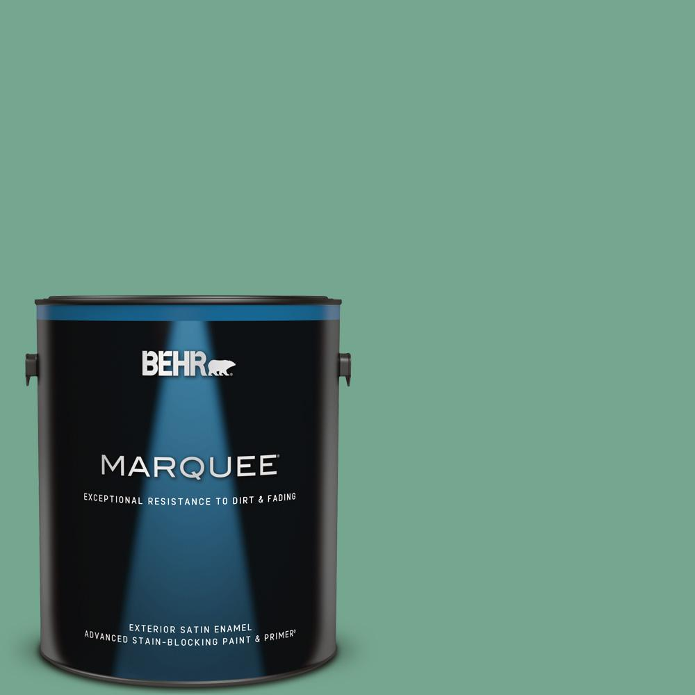 Behr Marquee 1 Gal M420 5 Free Green Satin Enamel Exterior Paint And Primer In One 945401 The Home Depot