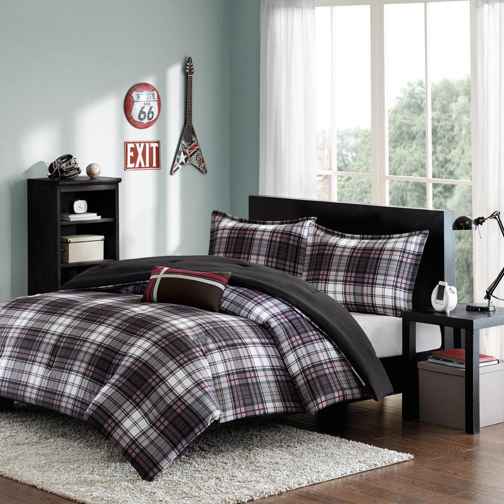 David 4-Piece Black Full/Queen Comforter Set
