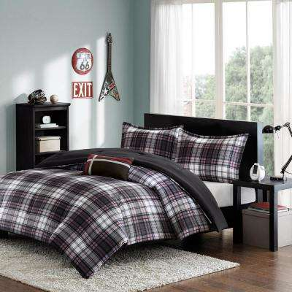David 4-Piece Black Full/Queen Plaid Comforter Set