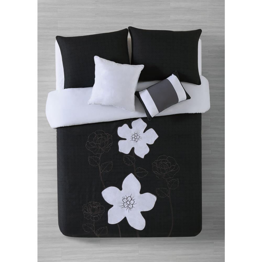 Addison House Rosella 4-Piece Black Twin Comforter Set RSL4CSTWINGHBK