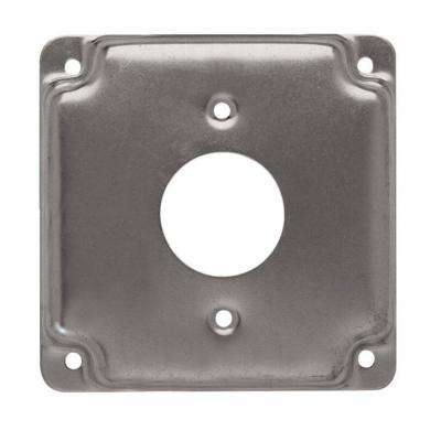 4 in. Square Cover, Exposed Work, 1.406 in. dia. Receptacle (10-Pack)