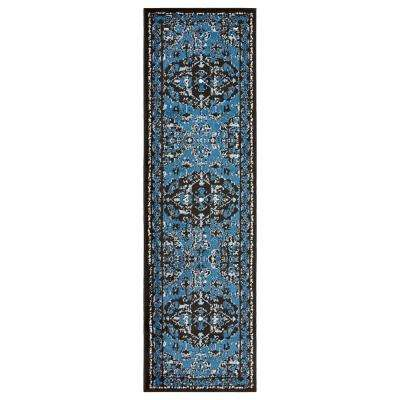 Infinity Black/Soft Blue 2 ft. 1 in. x 7 ft. 5 in. Indoor Runner Rug