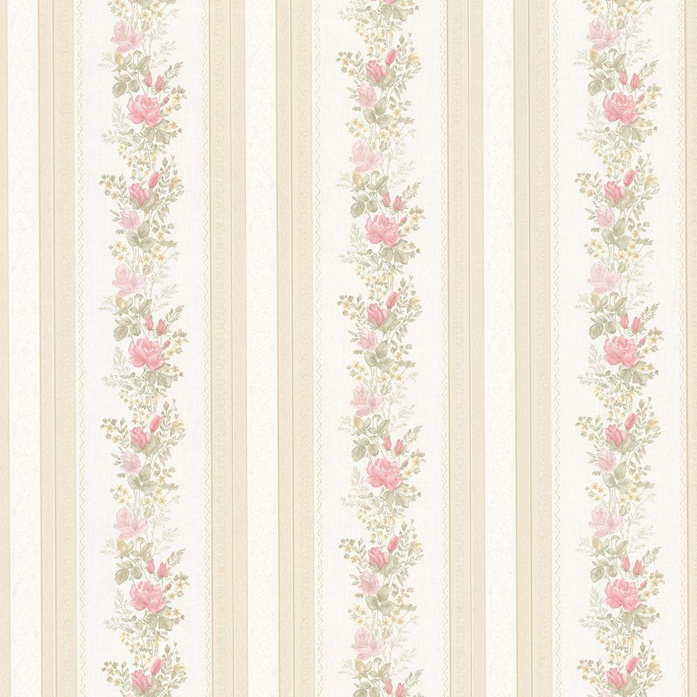 Mirage Alexis Pink Satin Floral Stripe Wallpaper 992 68352 The