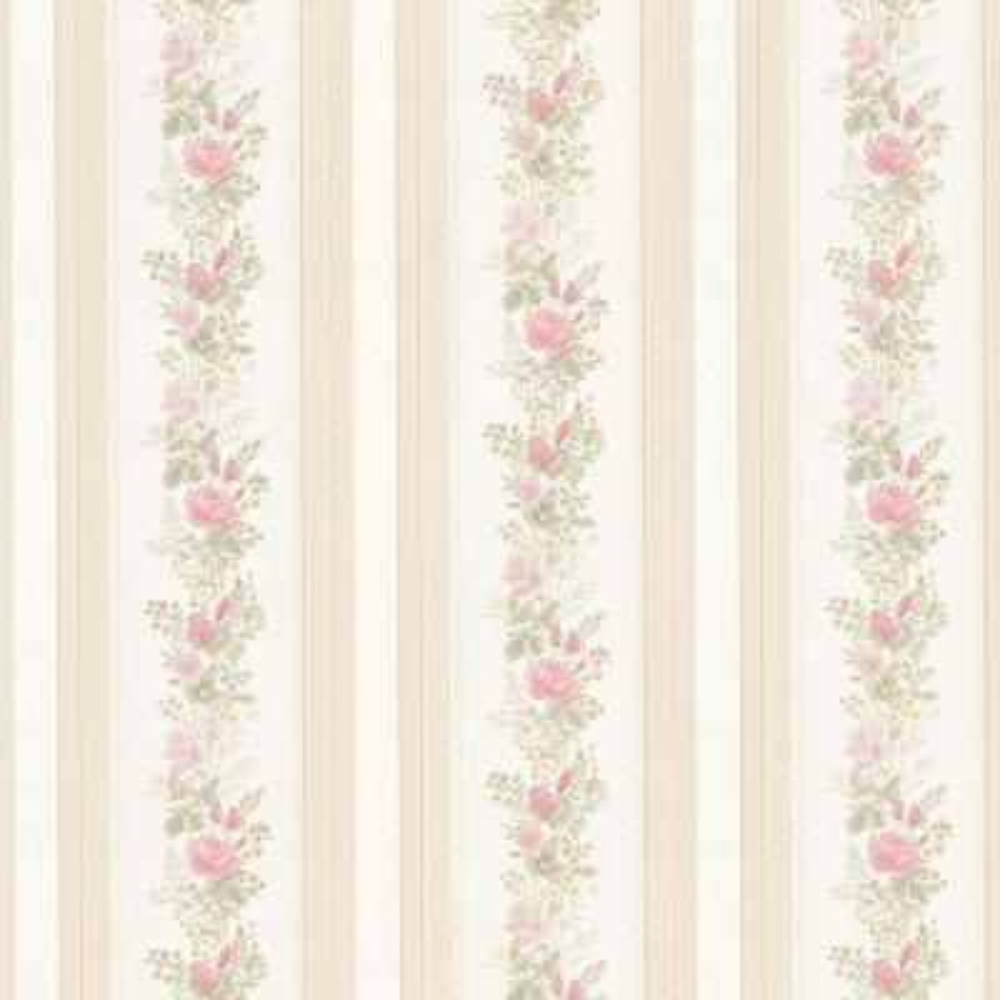 Alexis Pink Satin Floral Stripe Pink Wallpaper Sample