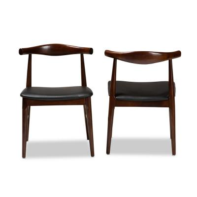 Eira Black and Walnut Faux Leather Dining Chair (Set of 2)