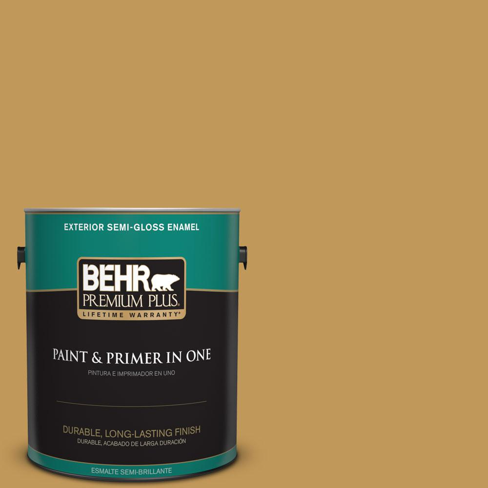 1-gal. #330D-6 Townhouse Tan Semi-Gloss Enamel Exterior Paint