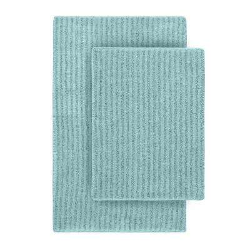 Sheridan Sea Foam 21 in. x 34 in. Washable Bathroom 2-Piece Rug Set