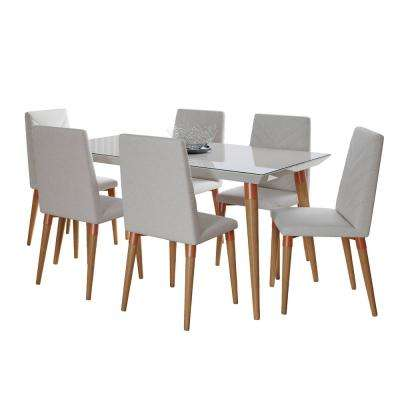 Utopia 62.99 in. 7-Piece Off-White and Beige Dining Set