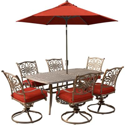 Traditions 7-Piece Aluminum Outdoor Dining Set with Red Cushions and 6 Swivel Rockers