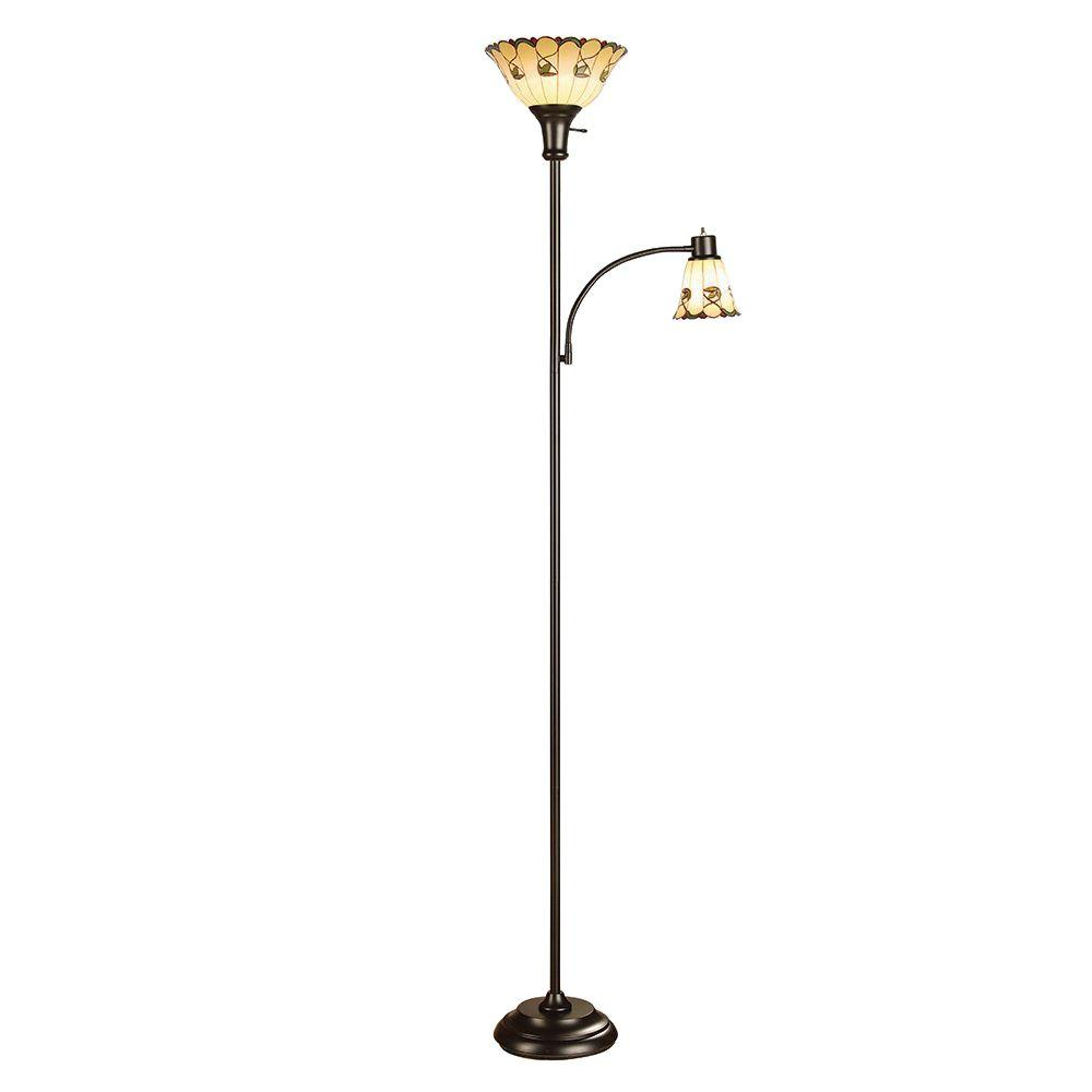 Alsy 71 in. Bronze Tiffany Style Mother Daughter Floor Lamp