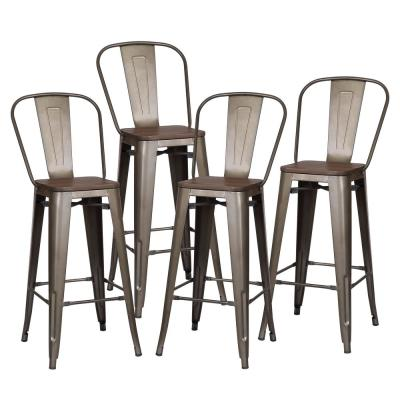 Trattoria 30 in. Bronze High Back Bar Stool with Elm Wood Seat (Set of 4)