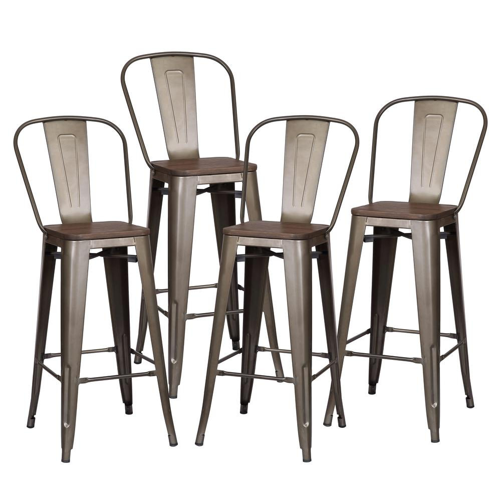 Poly And Bark Trattoria 30 In Bronze High Back Bar Stool With Elm