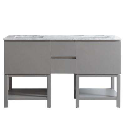 Venzia 60 in. W x 21 in. D x 36 in. H Vanity in Grey with Marble Vanity Top in Carrara White with White Basin