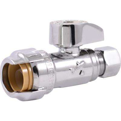 1/2 in. Chrome-Plated Brass Push-to-Connect x 3/8 in. O.D. Compression Quarter-Turn Straight Stop Valve (4-Pack)