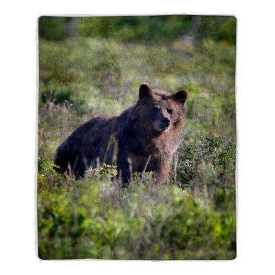 Grizzly Bear Print Sherpa Fleece Blanket
