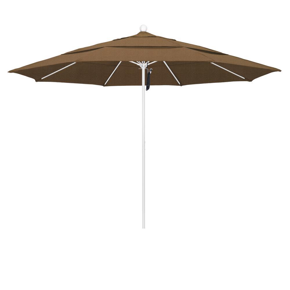 11 ft. Matted White Fiberglass Market Patio Umbrella PO DVent in Woven Sesame Olefin