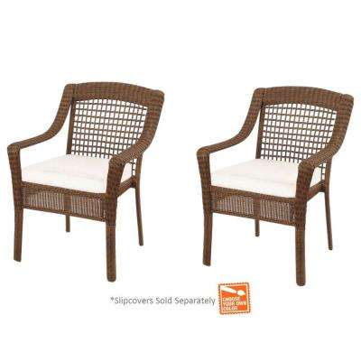 Spring Haven Brown Wicker Patio Dining Chairs with Cushions Included, Choose Your Own Color (2-Pack)