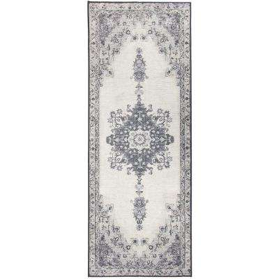 Washable Parisa Grey 2.5 ft. x 7 ft. Stain Resistant Runner Rug