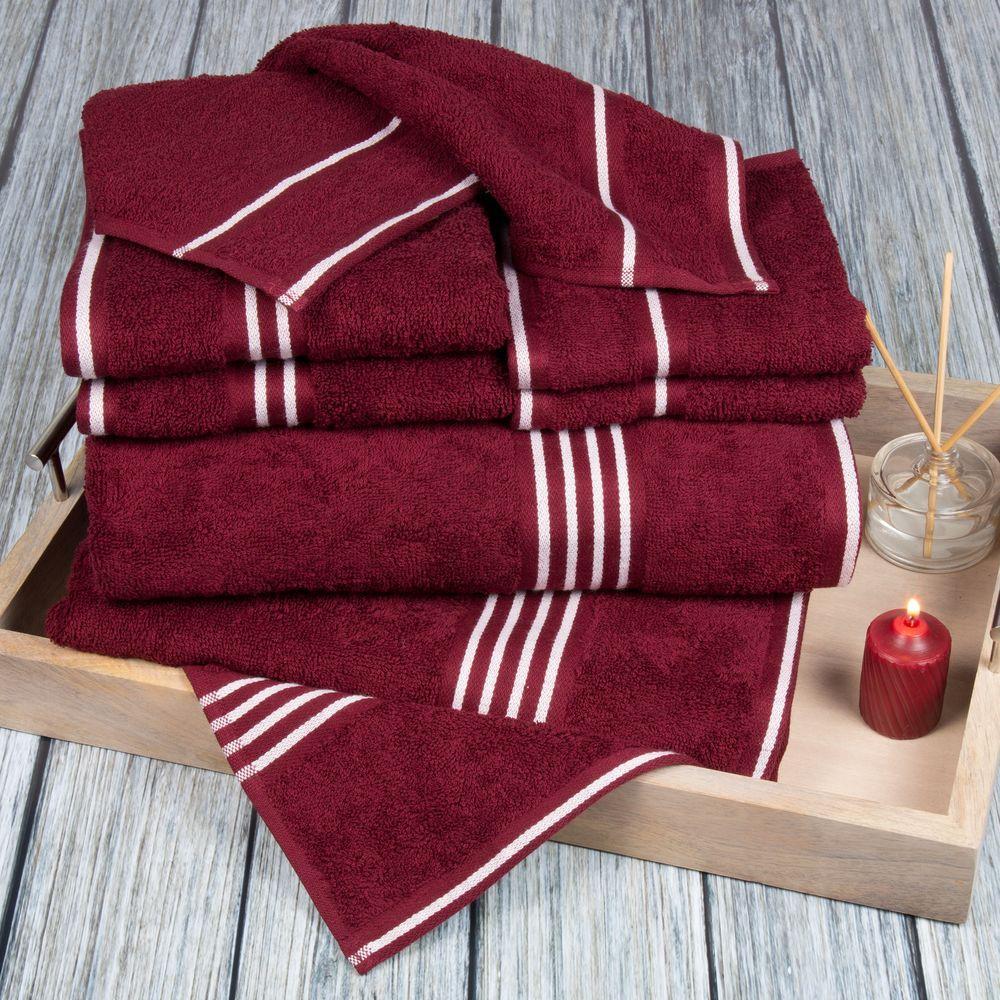 Lavish Home Rio Egyptian Cotton Towel Set in Burgundy (8-Piece)