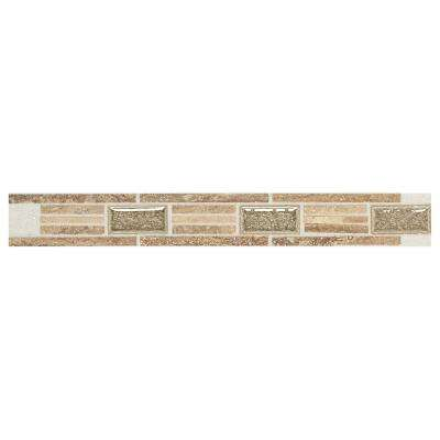 Stone Decor Linear Fantasy 1-5/8 in. x 12 in. Travertine with Crackled Glass Accent Wall Tile