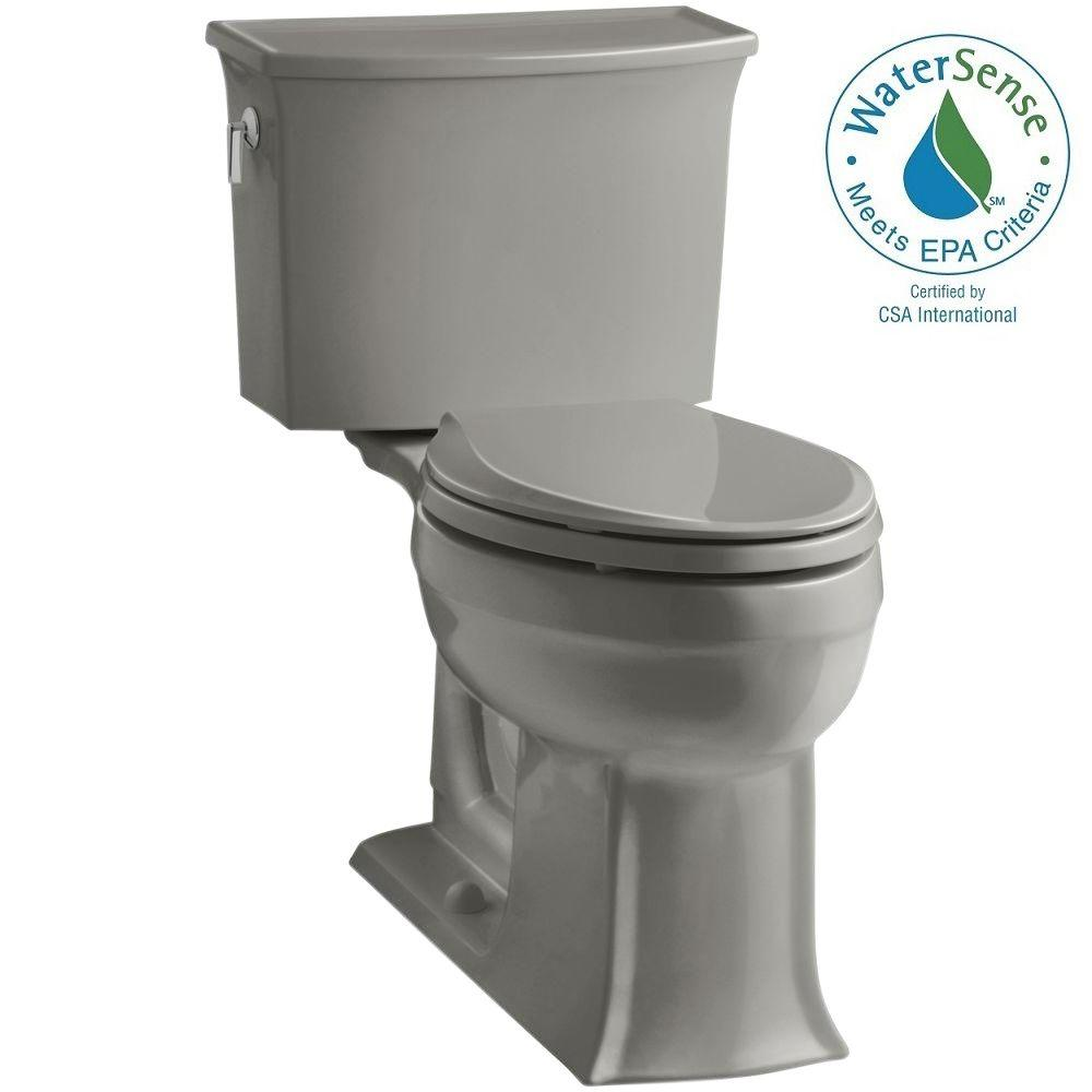 KOHLER Archer Comfort Height 2-piece 1.28 GPF Elongated Toilet with AquaPiston Flushing Technology in Cashmere