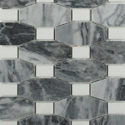 Diapson Dark Bardiglio with Thassos Dot 10 in. x 10 in. x 10 mm Polished Marble Mosaic Tile