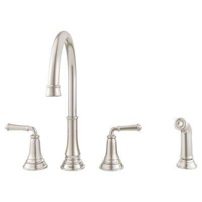 Delancey 2-Handle Standard Kitchen Faucet with Side Sprayer in Brushed Nickel
