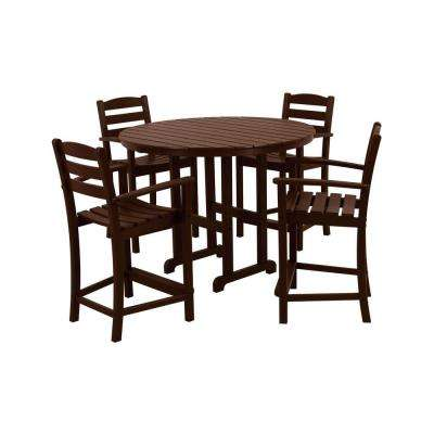 La Casa Cafe Mahogany 5-Piece Plastic Outdoor Patio Counter Set