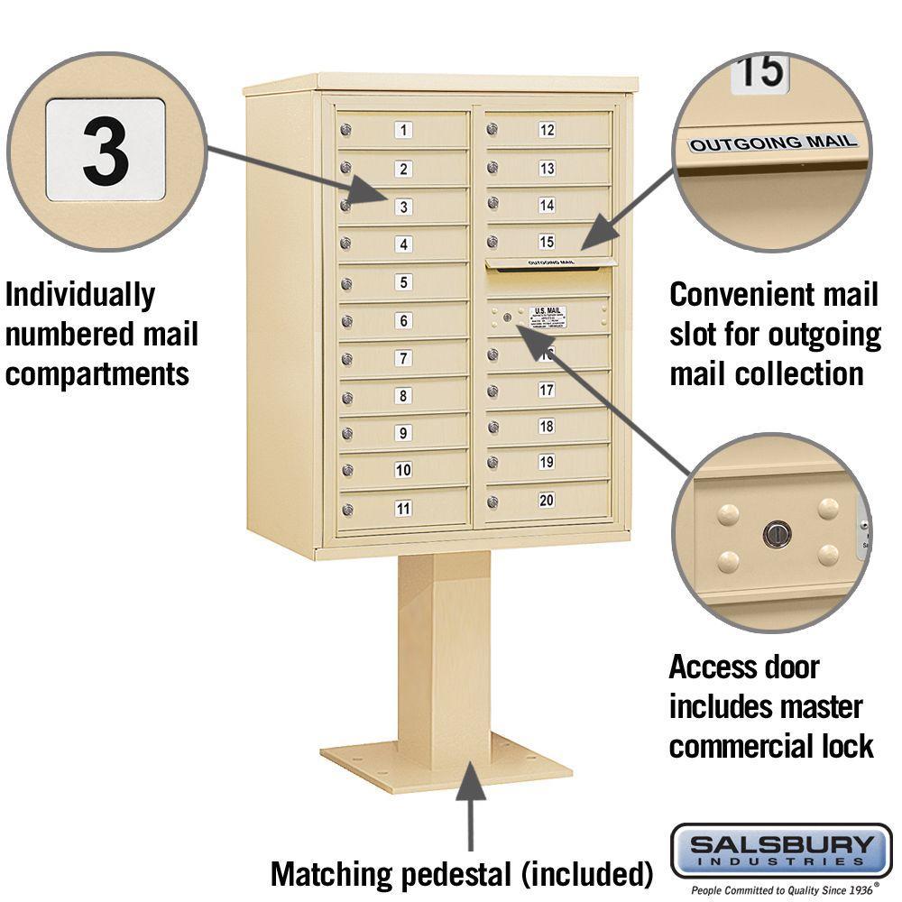 Sandstone Salsbury Industries 3411D-20SAN 4C Pedestal Mailbox