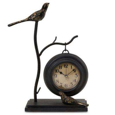 11.75 in. H x 9 in. W Bird and Branch with Round Hanging Clock