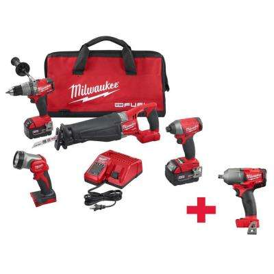 M18 FUEL 18-Volt Lithium-Ion Cordless Combo Kit (4-Tool) with Free M18 FUEL 1/2 in. Mid-Torque Impact Wrench