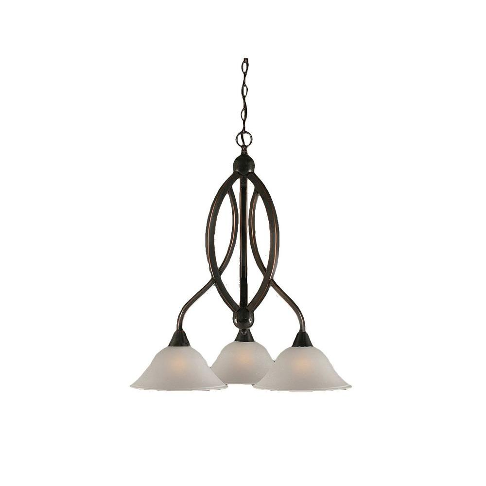 Concord 3-Light Black Copper Chandelier with Dew Drop Glass