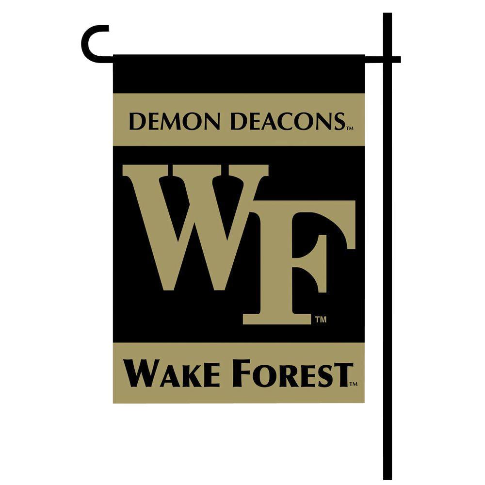BSI Products NCAA 13 in. x 18 in. Wake Forest 2-Sided Garden Flag Set with 4 ft. Metal Flag Stand