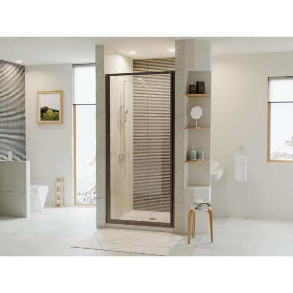 Legend 25.625 in. to 26.625 in. x 69 in. Framed Hinged Shower Door in Matte Black with Clear Glass