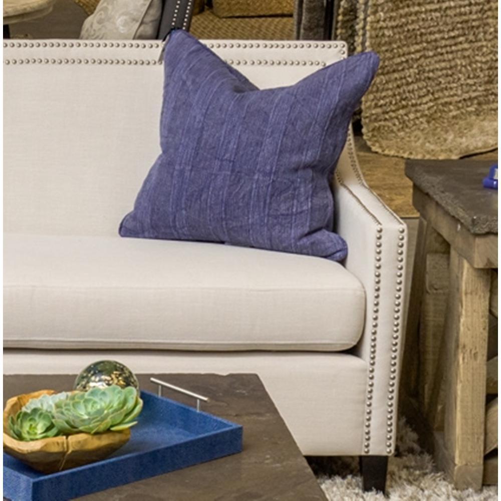 Heirloom Linen 20 in. x 20 in. Square Solid Stonewash Indigo Decorative Pillow