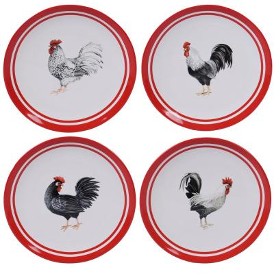 Homestead Rooster 4-Piece Multi-Colored 11 in. Dinner Plate Set