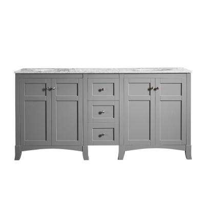 Arezzo 72 in. W x 22 in. D x 36 in. H Vanity In Grey with Marble Vanity Top in Carrara White with White Basin