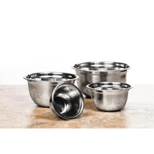 Click here to buy  4-Piece Stainless Steel Mixing Bowl Set Hammer Design.